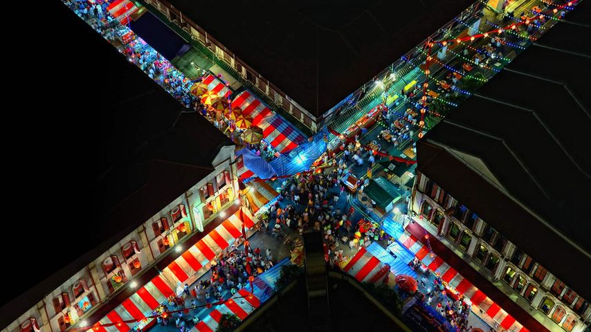 Aerial view of Chinatown, Singapore
