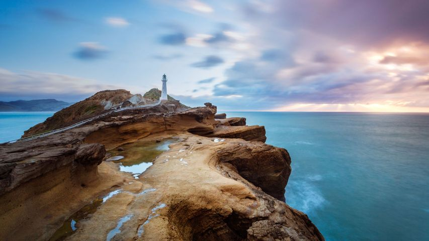 Castle Point Lighthouse near the village of Castlepoint, North Island of New Zealand