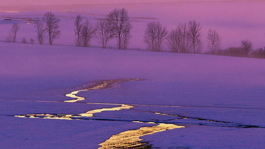 雪地里的日落,瑞士