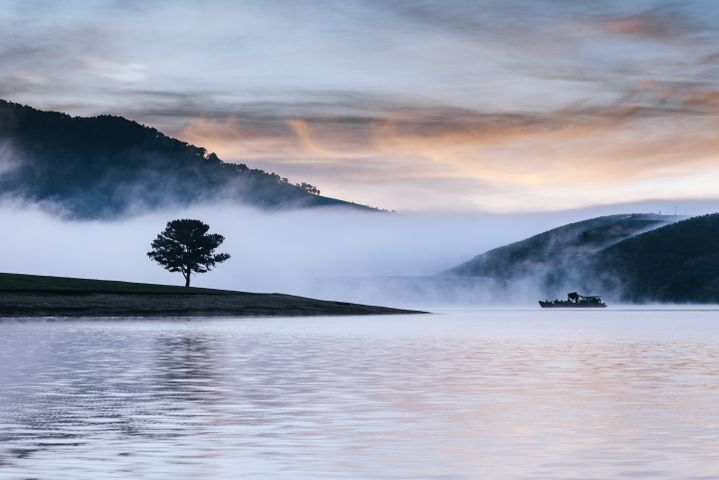 water fog outdoor landscape mountain sky cloud tree
