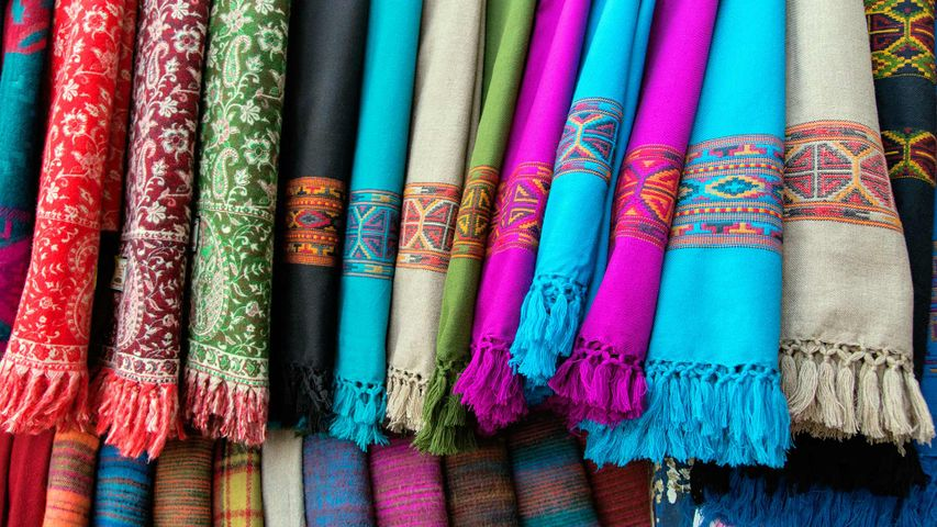 Bright coloured cloth shawls, from Nepal and India
