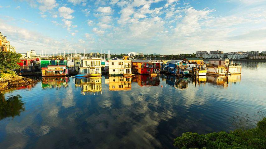 Houseboats at Fisherman's Wharf marina, Victoria, British Columbia, Canada.