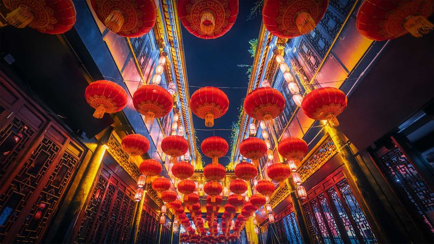 Red lanterns hanging in Jinli Street, Chengdu, China