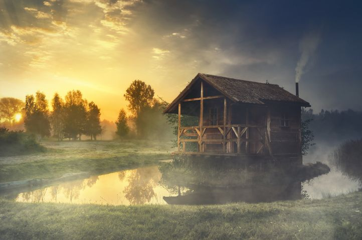 outdoor sky grass lake tree water house cloud