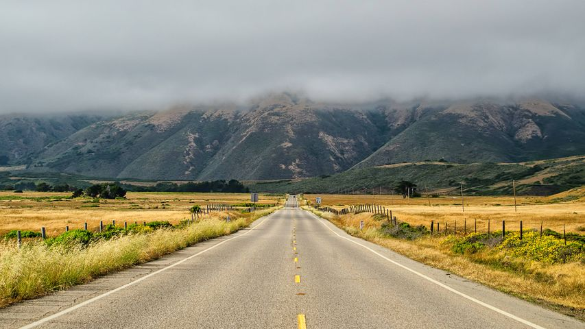 grass mountain road sky way landscape outdoor scene
