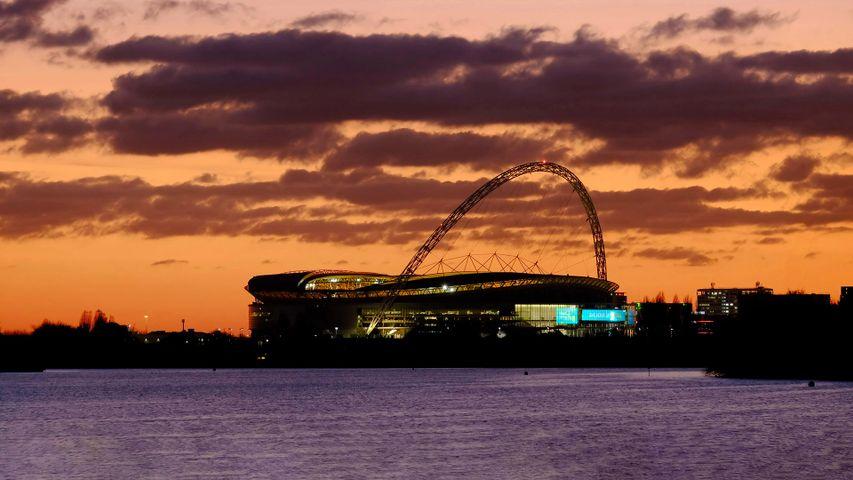 Wembley Stadium at sunset, London