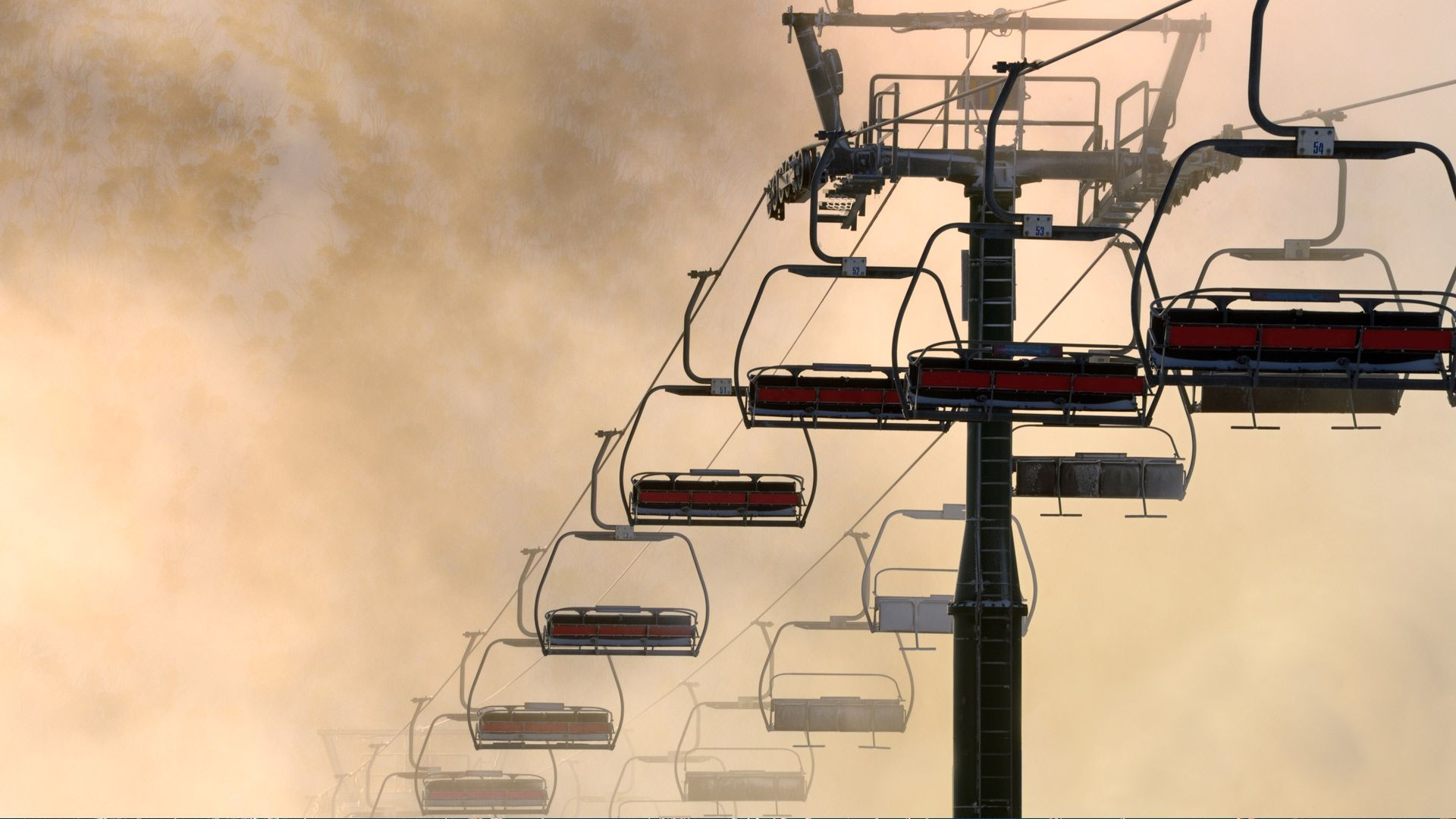 Close-up of chairlift during sunrise in Mt Hotham, Victoria