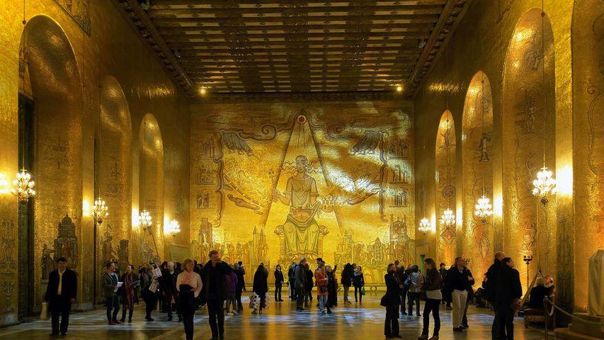 Golden Hall in Stockholm City Hall for today's Nobel Prize award ceremonies