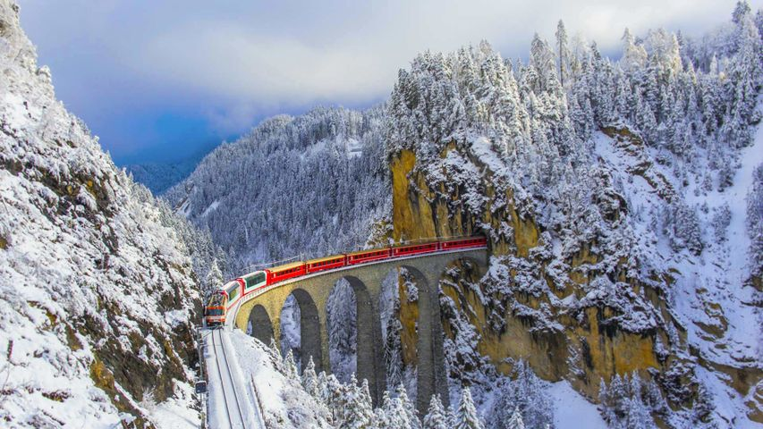 Bernina Express on the Landwasser Viaduct, Graubünden, Switzerland