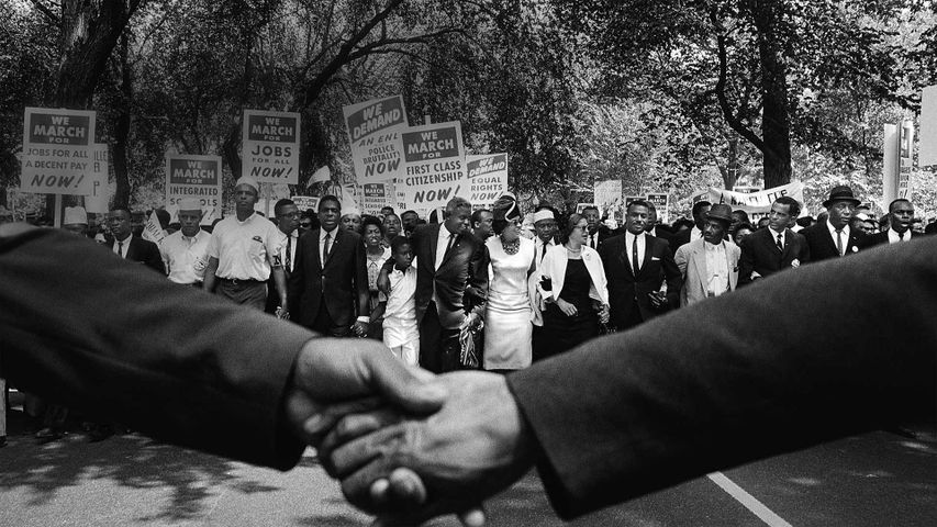 The front line of demonstrators during the March on Washington for Jobs and Freedom on August 28, 1963