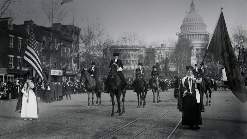 Women suffragists marching down Pennsylvania Avenue on March 3, 1913, Washington, DC