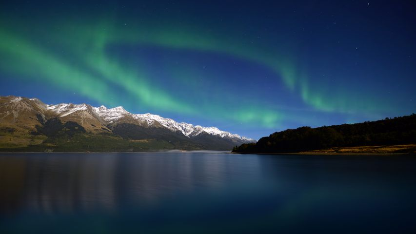 mountain outdoor aurora lake nature water landscape night sky