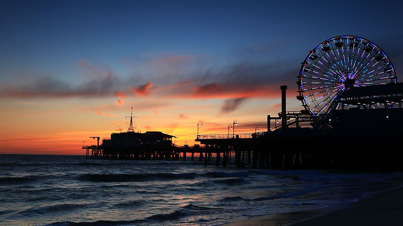 Pacific Park's Ferris wheel on Santa Monica Pier, California, USA