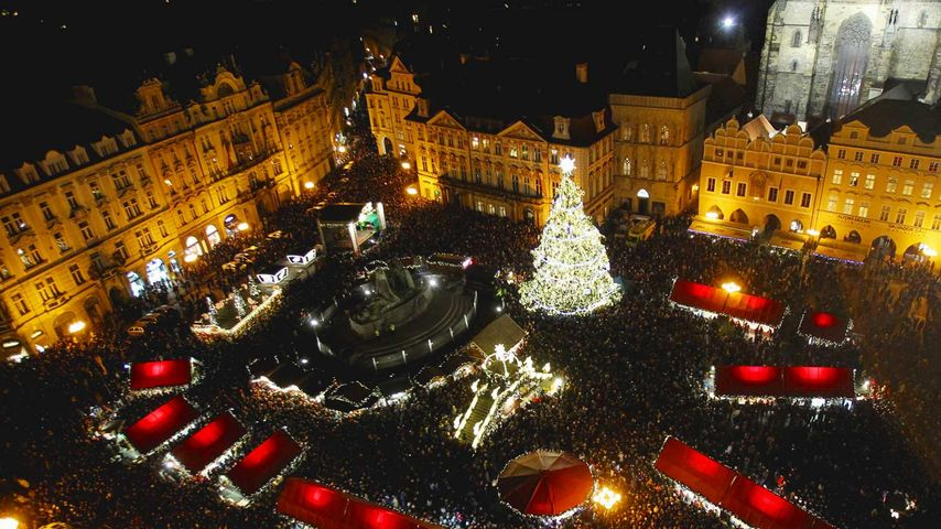 Holiday market in Old Town Square, Prague, Czech Republic