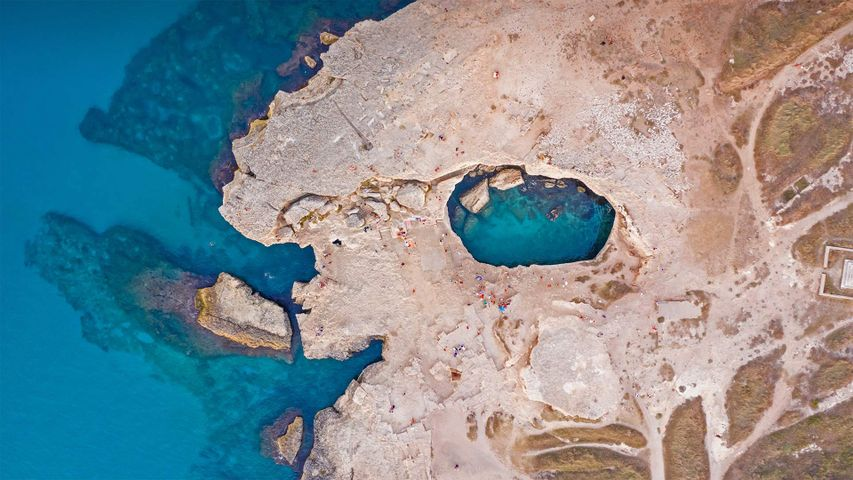 Aerial view of the Grotta della Poesia (Poetry's Cave) near Roca, Lecce, Italy