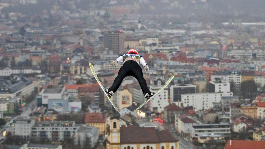 German ski jumper Markus Eisenbichler competing in the Four Hills Tournament, Innsbruck, Austria, on January 3, 2018