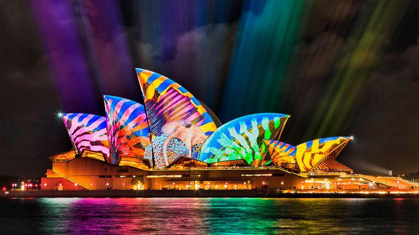 Sydney Opera House light beam projections during Vivid 2017