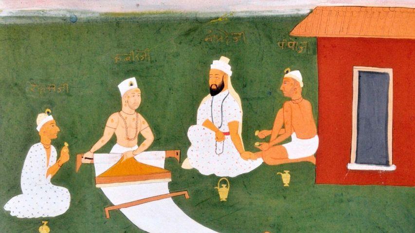 Kabir with Namdeva, Raidas and Pipaji. Jaipur, early 19th century