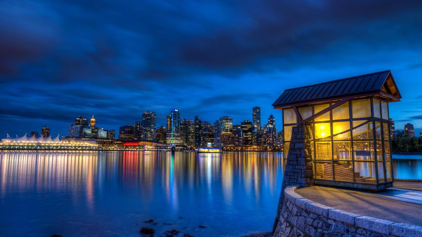 Scenic shot from Stanley Park overlooking the downtown core, Vancouver