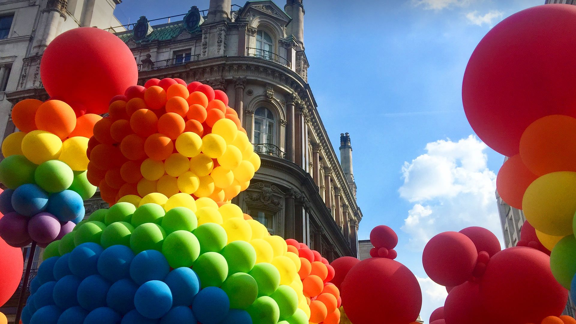 Rainbow-coloured balloons at the Pride in London parade