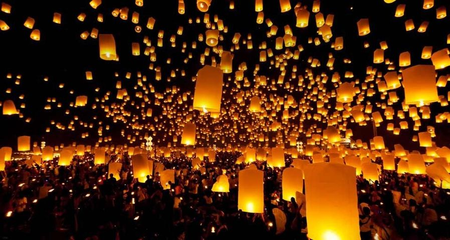 Lanterns released into the sky during a festival, Chiang Mai province, Thailand