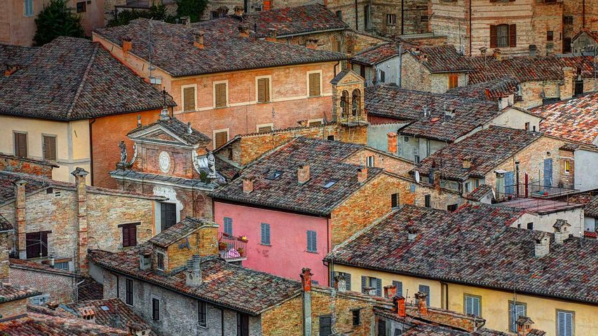 Rooftops in the walled city of Urbino, Italy