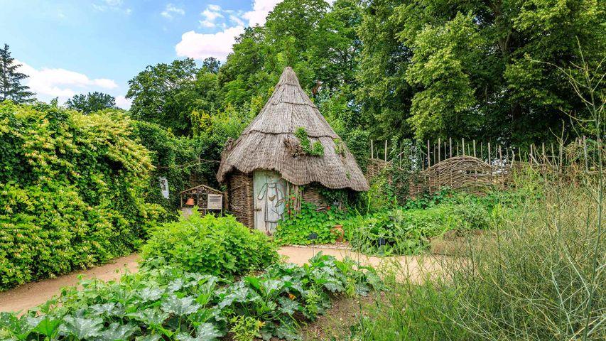 Hutte en osier dans le potager du parc floral de la Source, Orléans