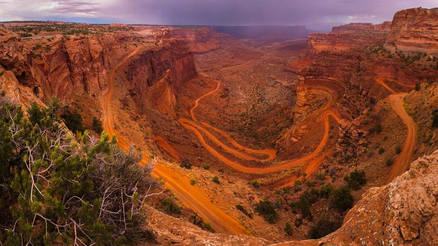 White Rim Road seen from Island in the Sky in Canyonlands National Park, Utah