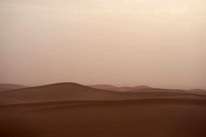 sky outdoor sunset fog desert aeolian landform nature erg