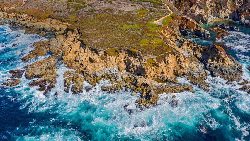 Aerial view of the Big Sur coastline near Monterey, California