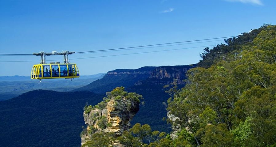 The Scenic Skyway over Orphan rock in the Blue Mountains, Katoomba, NSW, Australia