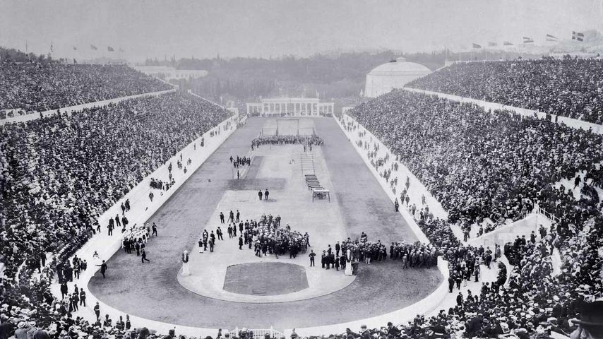 Opening ceremony of the 1896 Olympic Games in Panathinaiko Stadium, Athens, Greece