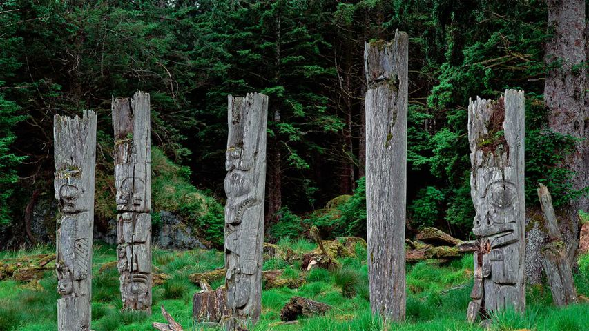 Haida totem poles on Haida Gwaii in British Columbia, Canada