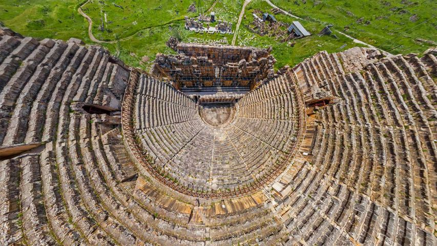 Aerial view of the theatre at the ancient city of Hierapolis, adjacent to Pamukkale, Turkey