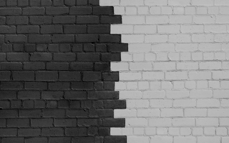 brick building material building black and white black-and-white monochrome monochrome photography wall