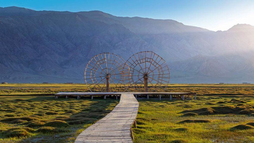 Water wheel in the Tashkurgan Grassland, Tashkurgan Tajik Autonomous County, Xinjiang, China