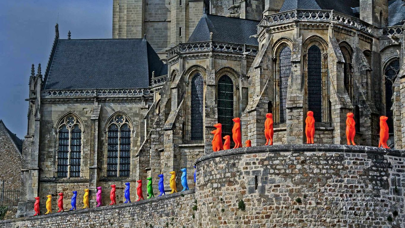 Cracking Art installation at Le Mans Cathedral in 2015, Le Mans, France