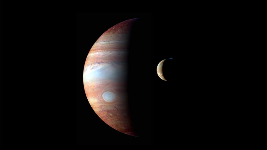 Montage of images of Jupiter and its volcanic moon Io