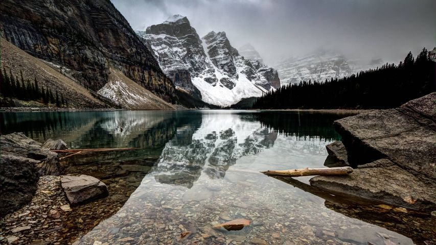 outdoor lake snow water nature mountain rock reflection