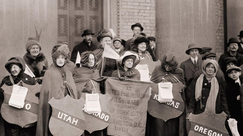 Women's suffragists who walked from New York City to Washington, DC, to join the National American Woman Suffrage Association parade on March 3, 1913