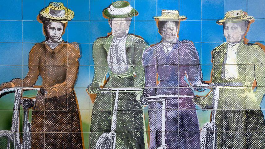 奥克兰艺术画廊的妇女参政瓷砖壁画,新西兰北岛