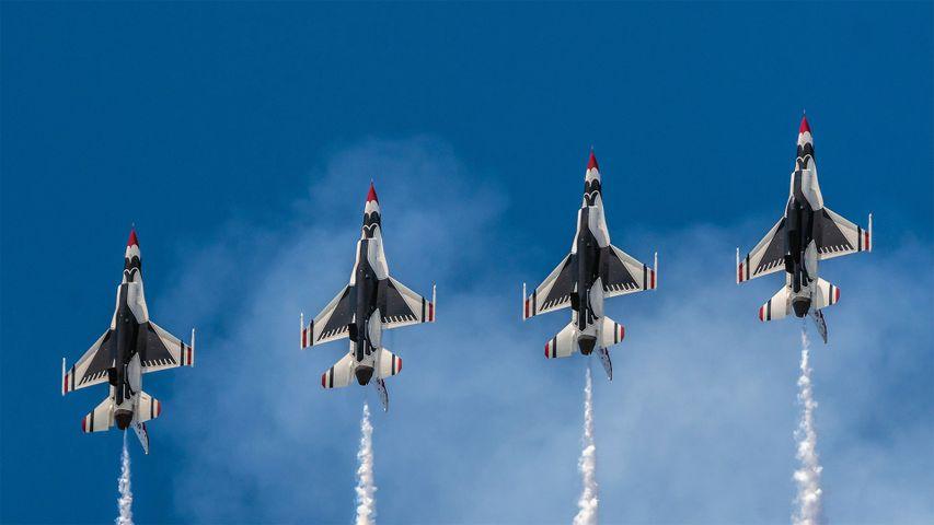 US Air Force Thunderbirds perform over Hampton, Virginia