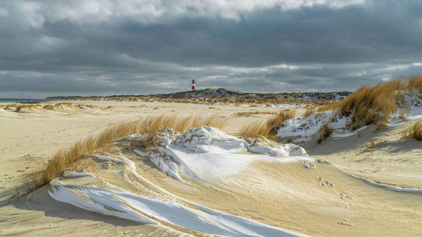 Strand der Insel Sylt, Schleswig-Holstein, im Winter