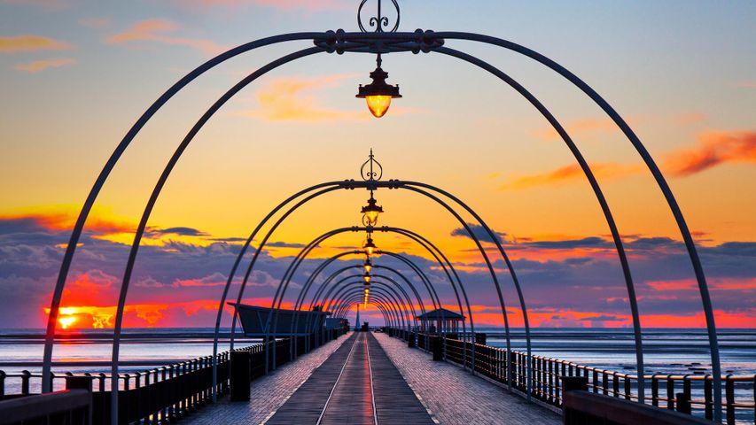 Sunset over Southport Pier, Merseyside