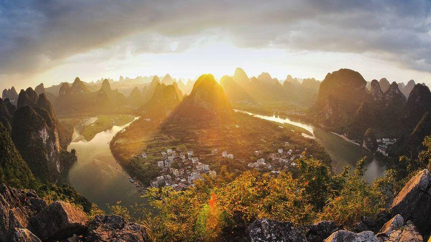 Xingping on the Li River in Guangxi Province, China