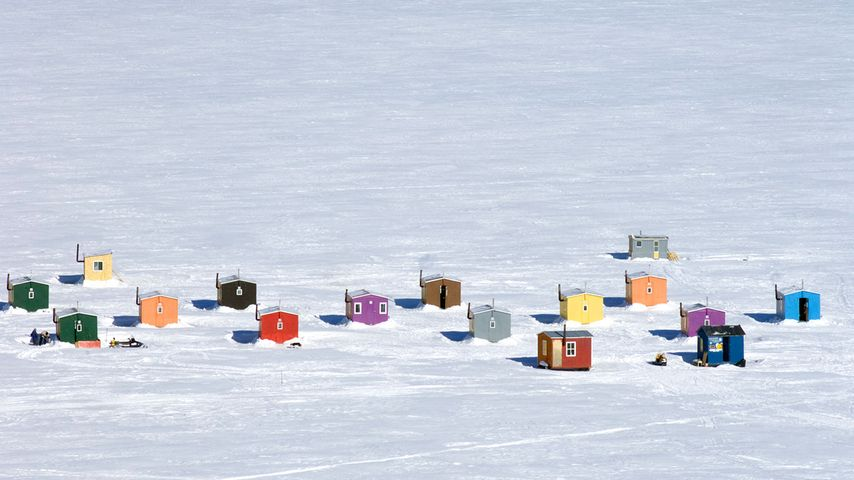Overhead of ice fishing huts in Anse-St-Jean, Que.