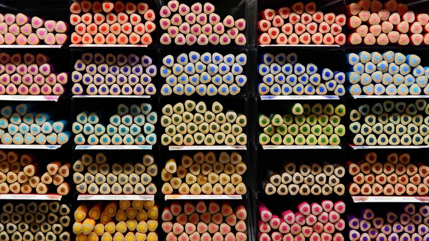 Pencils on display at Faber-Castell in Stein, Bavaria, Germany