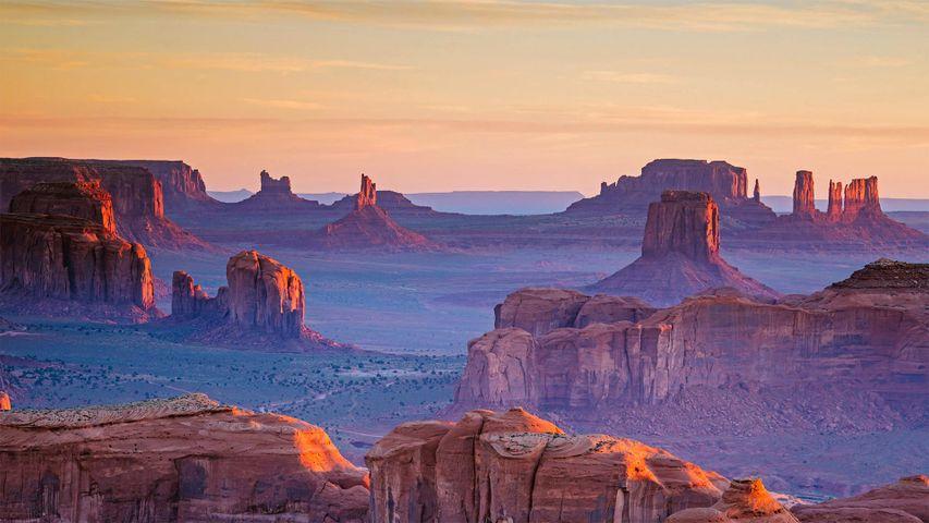 A view of Monument Valley Navajo Tribal Park from Hunts Mesa, Navajo Nation, between Arizona and Utah