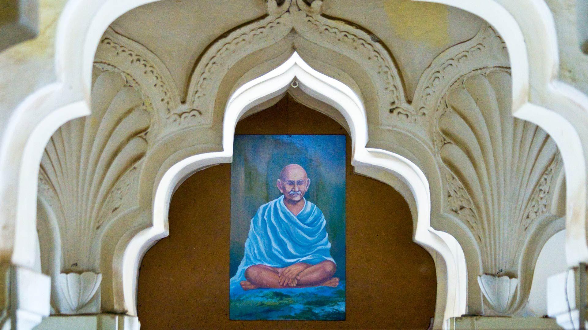 Painting of Gandhi inside Gandhi Memorial Museum, Madurai