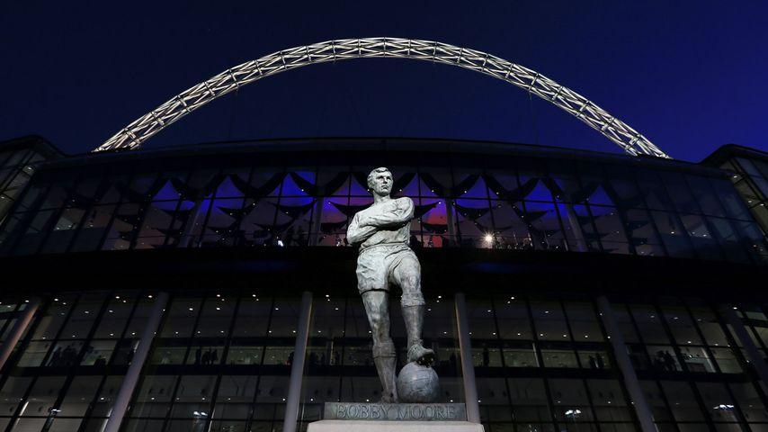 Statue of Bobby Moore outside Wembley Stadium, London